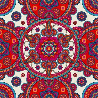 Boho indiano floral sem costura fundo colorido