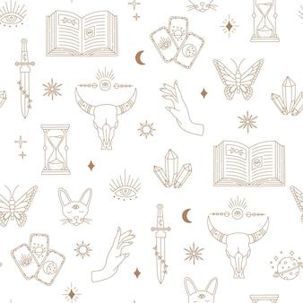 Boho mágico padrão sem emenda, bruxaria objetos lua, olho, mãos, sol, linha simples ouro, símbolos místicos boêmios e elementos em fundo branco. ilustração em vetor na moda moderna em estilo doodle