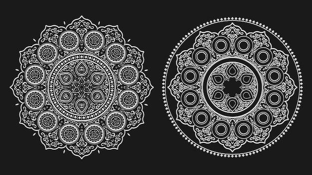 Boho mandala floral branco linha artística, set vector