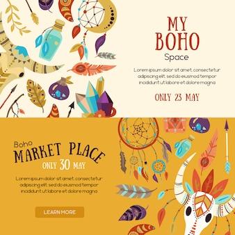 Boho market banners