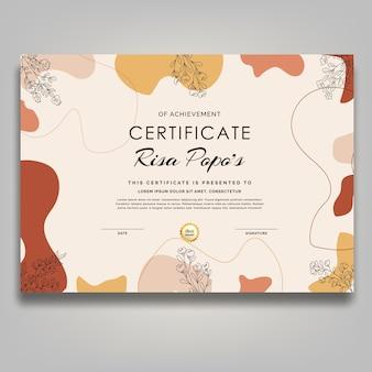 Boho meados do século linha arte flor certificado retrô