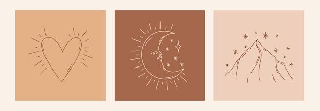Boho místico doodle conjunto esotérico pôster de arte em linha mágica com coração de montanha de lua ilustração moderna boêmia