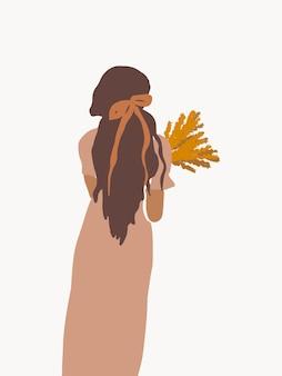 Boho moderno, mulher desenhada à mão com flores arte da moda para impressão de cartazes e mídias sociais