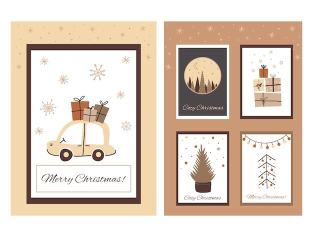 Boho natal conjunto de cartas em estilo doodle fofo