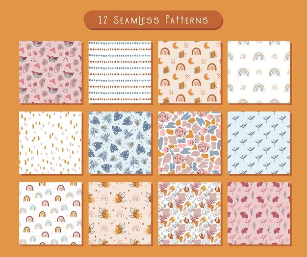 Boho padrão abstrato sem costura ou pacote de papel digital fundo geométrico e floral simples