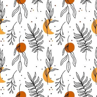 Boho padrão sem emenda com luas de folhas padrão de lua crescente com folhas