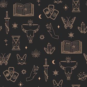 Boho sem costura padrão mágico, objetos de bruxaria, lua, olhos, mãos, sol, linha simples de ouro, símbolos místicos boêmios e elementos em fundo preto. ilustração em vetor na moda moderna em estilo doodle