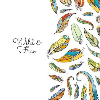 Boho vector doodle ilustração de fundo de penas coloridas