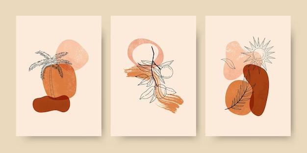 Boho verão fundo abstrato verão fundo boho papel de parede arte abstrata