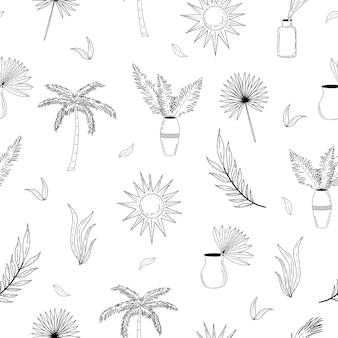 Boho verão padrão preto e branco sem costura, ilustração vetorial de férias e férias