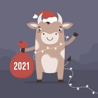 Boi bonito dos desenhos animados no ano novo. o touro símbolo chinês deseja a você um feliz natal