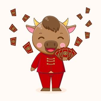 Boi fofo compartilhando angpao, feliz ano novo chinês
