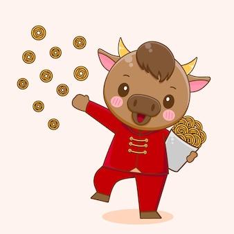 Boi fofo compartilhando moedas
