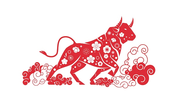 Boi, touro, búfalo, ícone, chinês, feliz, ano novo, pôster, ilustração vetorial horizontal sinal do zodíaco