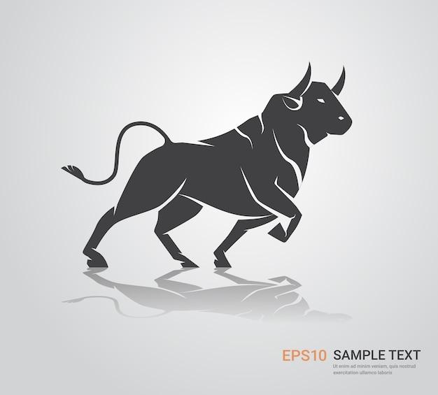 Boi, touro, búfalo, ícone, chinês, feliz ano novo, pôster, zodíaco, cópia, espaço, vetorial, ilustração