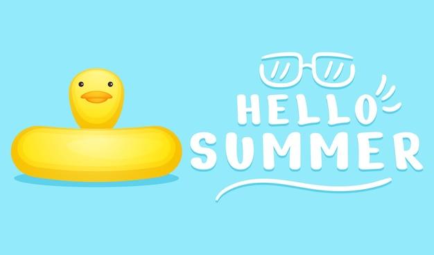 Bóia de natação de pato fofo com faixa de saudação de verão