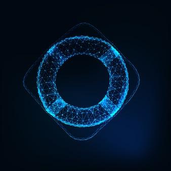 Boia de vida poligonal de incandescência futurista baixa isolada na obscuridade - fundo azul.