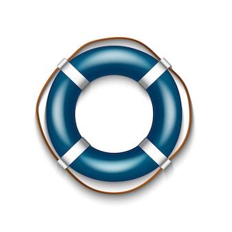 Boia salva-vidas azul com a corda isolada no fundo branco, ilustração.