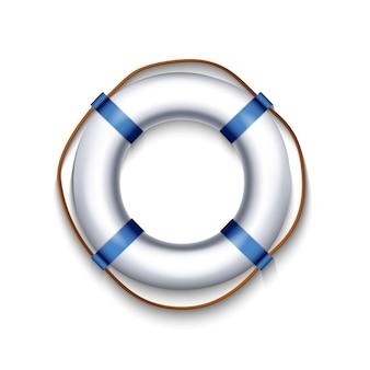 Boia salva-vidas branco com corda elemento azul isolado no fundo branco, ilustração.