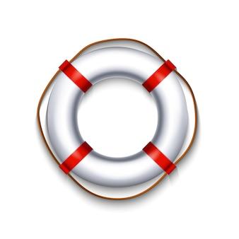 Boia salva-vidas branco com corda elemento vermelho isolado no fundo branco, ilustração.