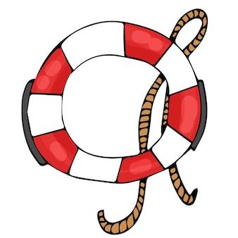 Boia salva-vidas em fundo branco isolado círculo de borracha com listras vermelhas e brancas e corda