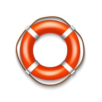 Boia salva-vidas vermelho com a corda isolada no fundo branco, ilustração.