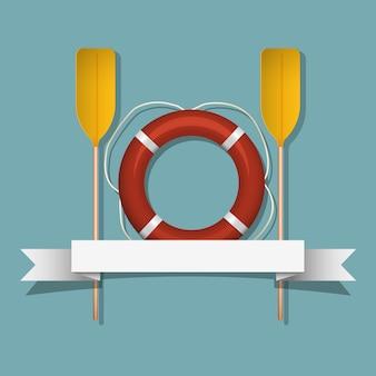 Bóias salva-vidas e remos