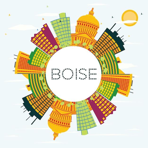 Boise eua skyline com edifícios de cor, céu azul e espaço de cópia. ilustração vetorial. viagem de negócios e conceito de turismo. imagem para cartaz de banner de apresentação e site.