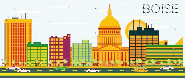Boise skyline com edifícios de cor e céu azul. ilustração vetorial. viagem de negócios e conceito de turismo. imagem para cartaz de banner de apresentação e site.