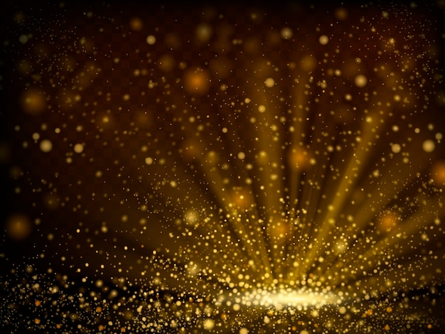 Bokeh abstrato brilhante de fundo de pó dourado na ilustração 3d