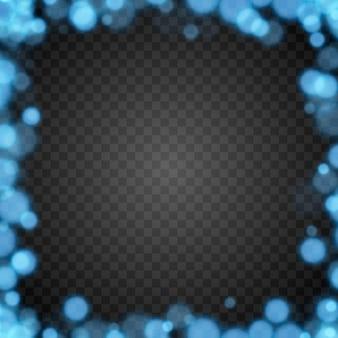 Bokeh azul em fundo transparente isolado efeito de luz png desfocado bokeh png quadro de bokeh