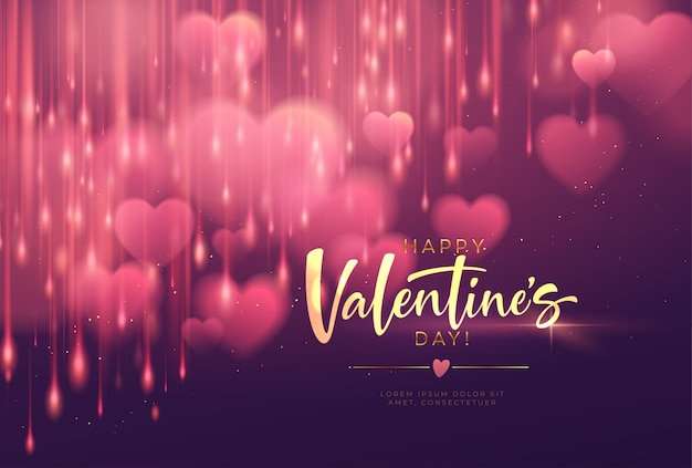 Bokeh borrado coração forma brilhante luxuoso para parabéns dia dos namorados. Vetor grátis