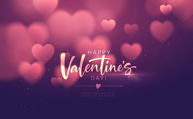 Bokeh borrado coração forma brilhante luxuoso para parabéns dia dos namorados. Vetor Premium