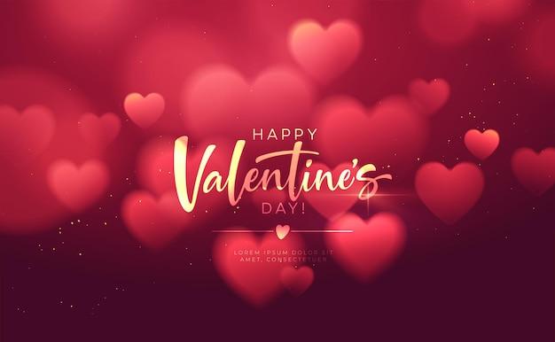 Bokeh borrado coração forma brilhante luxuoso para parabéns dia dos namorados.
