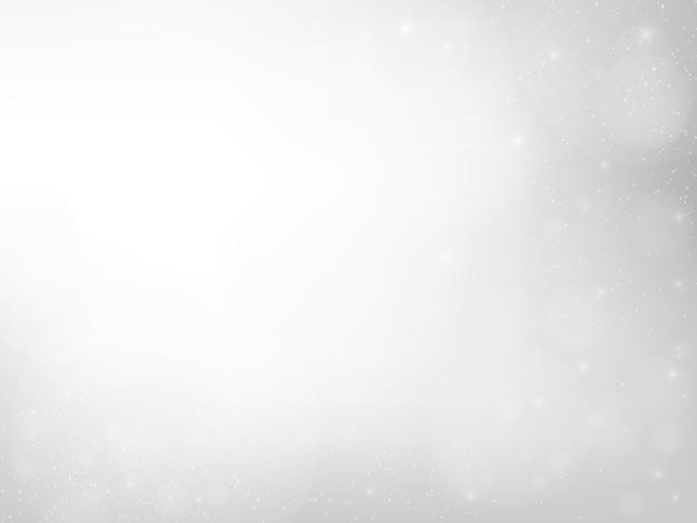 Bokeh cinza abstrato e efeitos de iluminação brilhante spakling de flash e brilho brilhante fundo de partículas