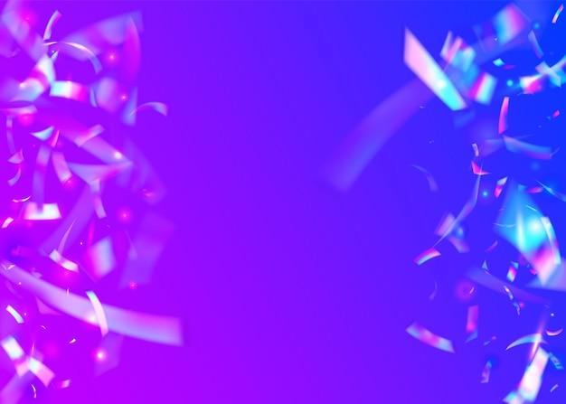 Bokeh confetti. efeito do holograma. arte brilhante. folha de unicórnio. fundo de metal rosa. disco comemorar papel de parede. textura de carnaval. elemento de desfoque. violet bokeh confetti