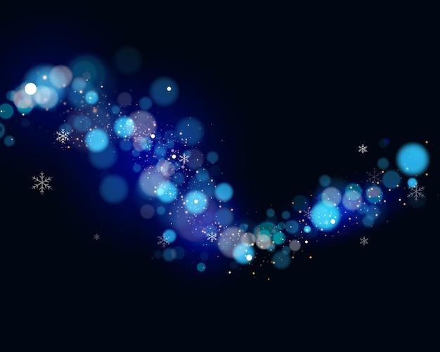 Bokeh de onda brilhante e luz de fundo. bokeh azul e brilho de natal. ilustração.