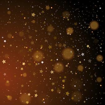 Bokeh de ouro, confetes de estrelas douradas e prata brilhantes
