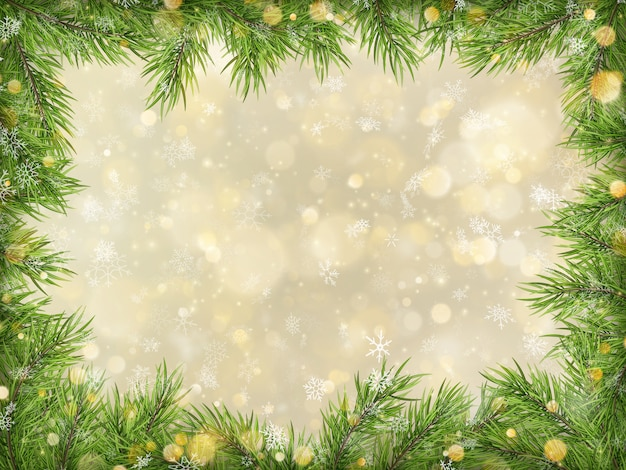 Bokeh de ouro de natal com fundo de quadro de galhos de árvores.