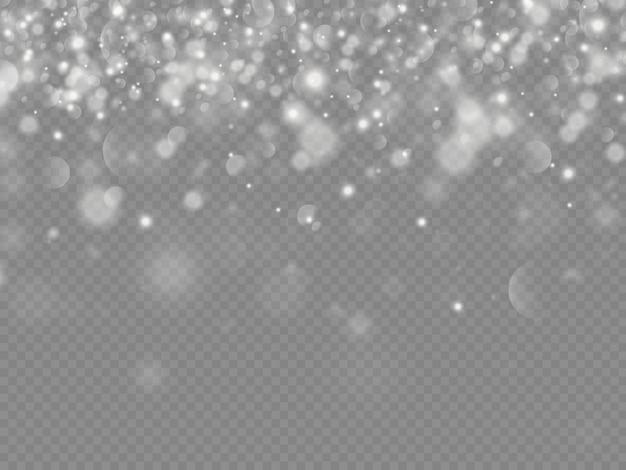 Bokeh de partículas de poeira mágica cintilante isolado em fundo transparente, faíscas de poeira branca e brilho da estrela com luz especial, efeito de luz de brilho de natal, luzes de brilho, brilho