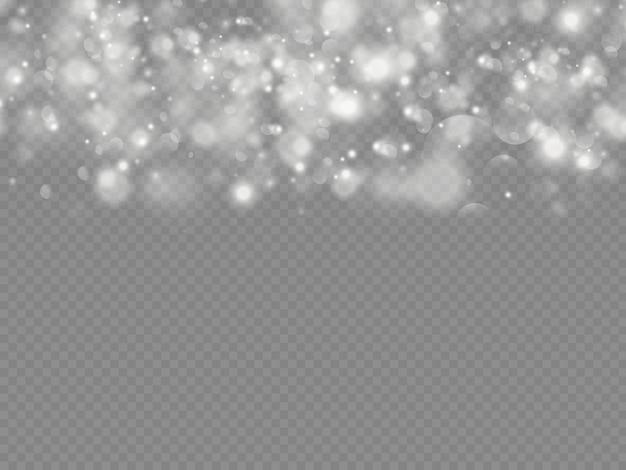 Bokeh de partículas de poeira mágica cintilante isolado em fundo transparente