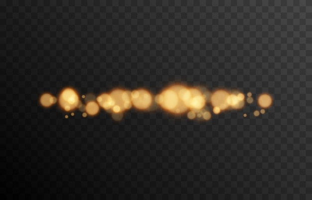 Bokeh dourado em fundo transparente isolado efeito de luz png bokeh borrado png