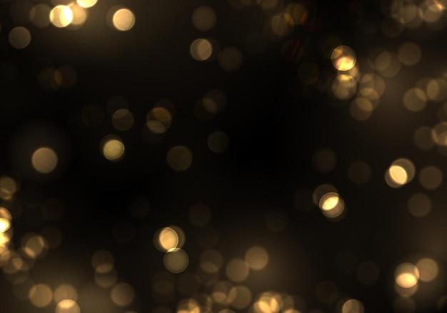 Bokeh dourado luz desfocada em fundo preto luzes douradas modelo de feriados de natal e ano novo brilho abstrato desfocado, estrelas piscando e faíscas vetor eps 10
