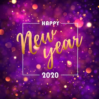 Bokeh festivo roxo, luzes douradas. feliz ano novo 2020.