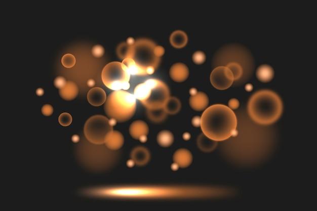 Bokeh gradiente sépia tons luzes em fundo escuro