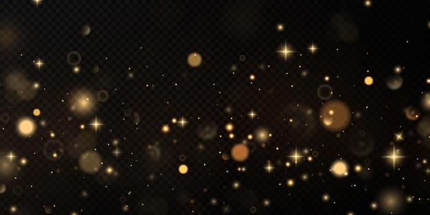 Bokeh ouro poeira luz luzes efeito de fundo natal fundo de poeira brilhante