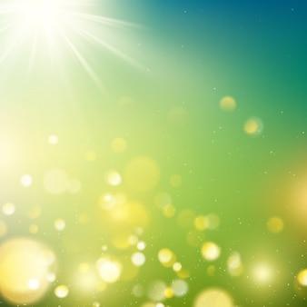 Bokeh realista ao ar livre em tons de verdes e amarelos com raios de sol.