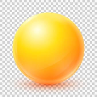 Bola amarela de vetor esfera 3d realista isolada em fundo transparente eps10