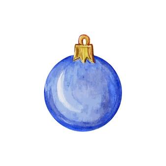 Bola azul de natal em um fundo branco decoração da árvore de natal ilustração em aquarela