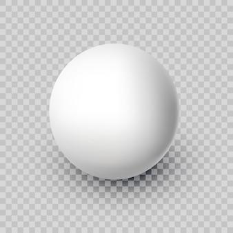 Bola branca realista de vetor isolada em um fundo transparente esfera abstrata com sombra eps10